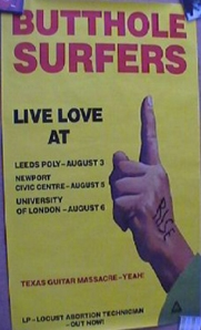 Butthole Surfers, UK tour poster, 1987.