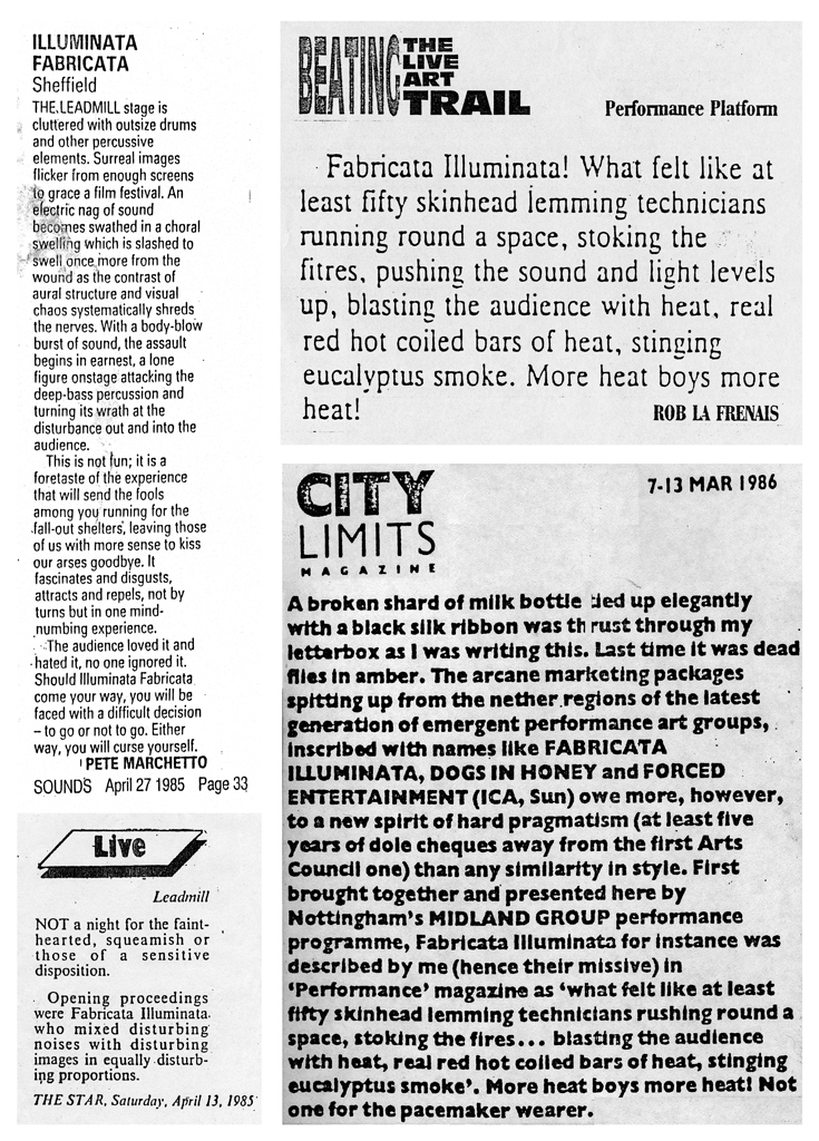 Reviews from The Sheffiled Star, Sounds, Performance Magazine and City Limits Magazine.