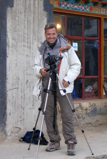 Filming at Everest base camp, August 2005.