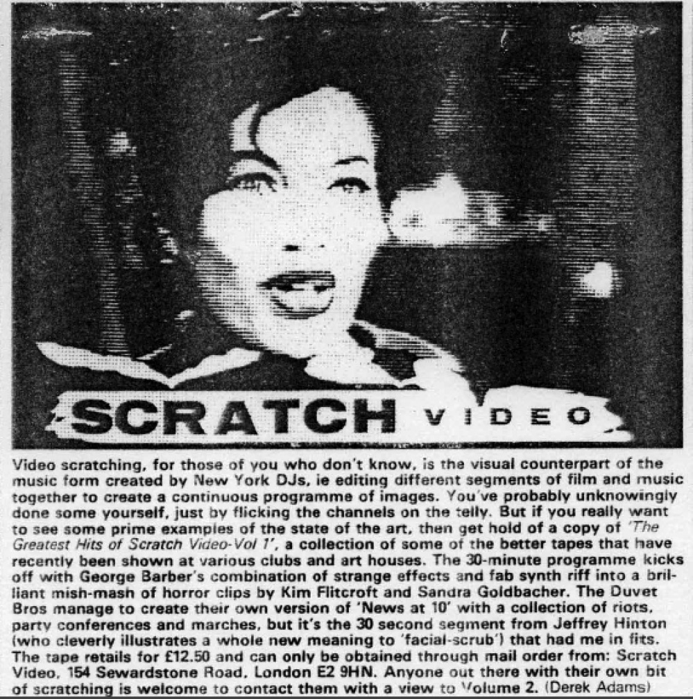 City Limits Magazine feature on George Barber's 'Greatest Hits of Scratch Video' VHS cassette release.
