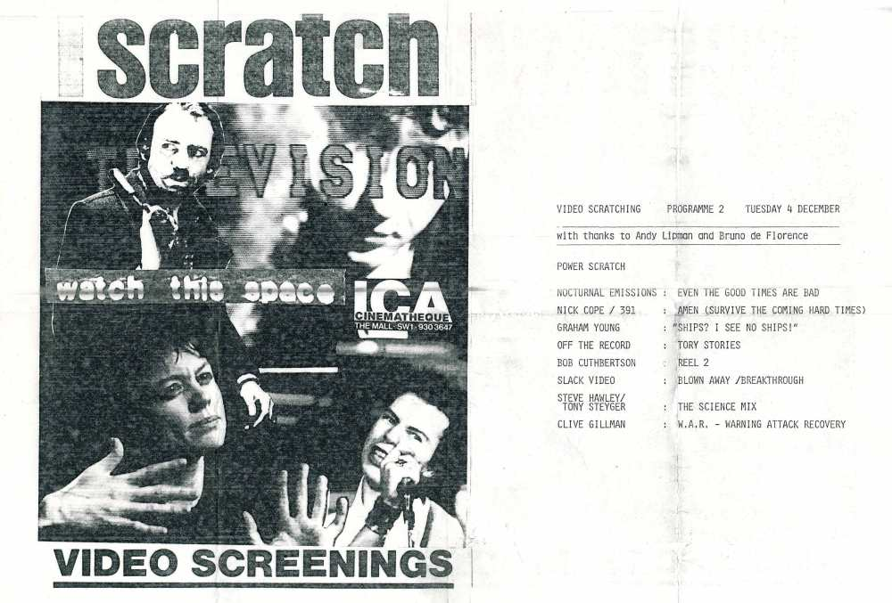 Scratch Television, ICA screening programme, 1984; featuring Nick Cope/391: Amen (Survive the Coming Hard Times).